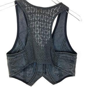 Free People Jean Denim Vest Lace Back Washed Black